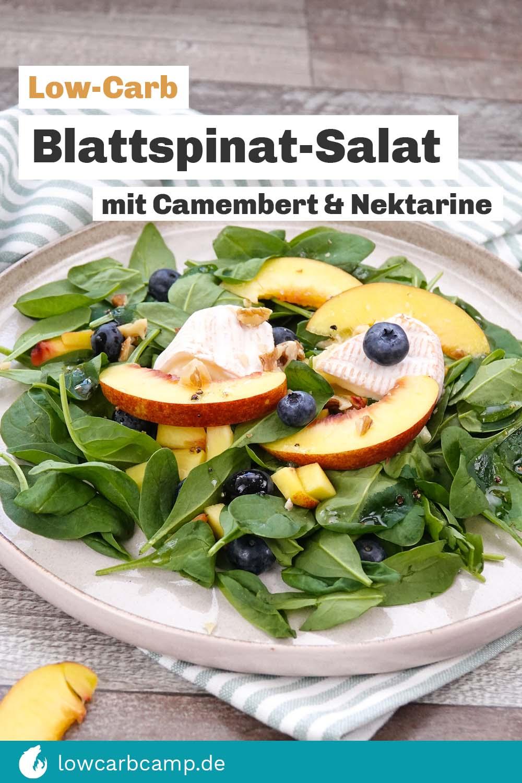 Blattspinatsalat mit Cambert und Nektarine