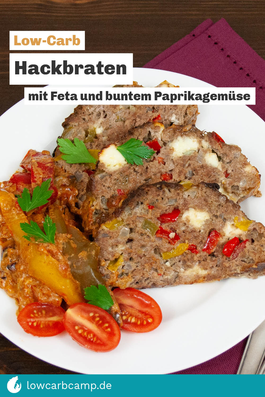 Low-Carb Hackbraten mit Feta und buntem Paprikagemüse