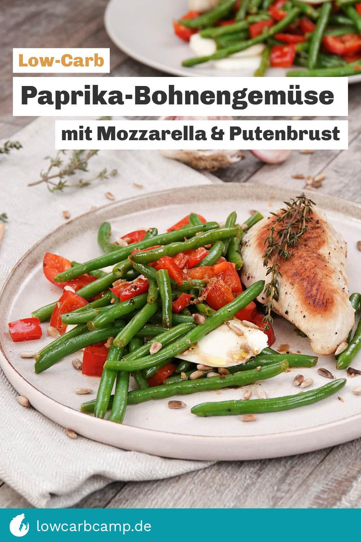 Paprika-Bohnengemüse mit Mozzarella und Putenbrust