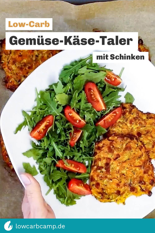 Low-Carb Gemüse-Käse-Taler mit Schinken