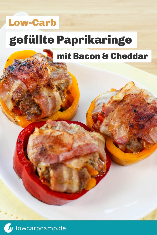 Gefüllte Paprikaringe mit Bacon & Cheddar