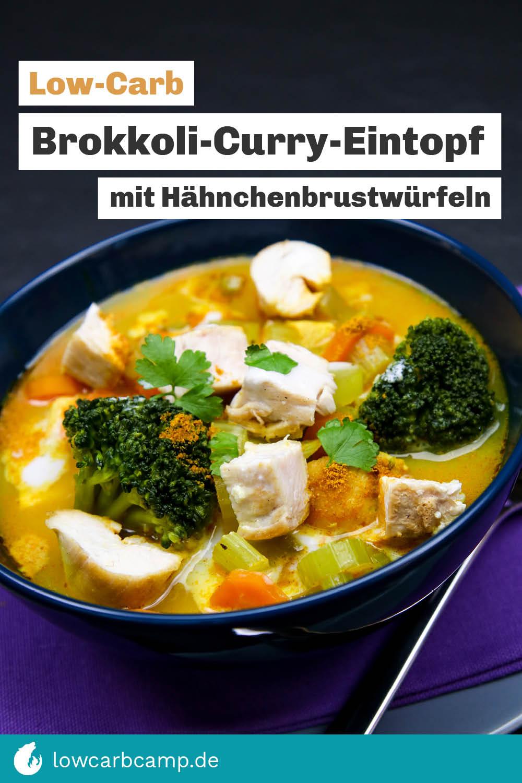 Brokkoli-Curry-Eintopf mit Hähnchenbrustwürfeln