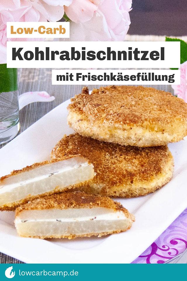Kohlrabischnitzel mit Frischkäsefüllung Low-Carb