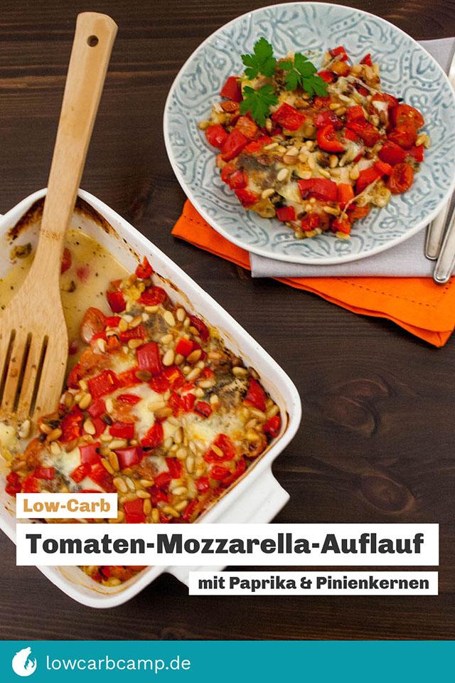 Tomaten-Mozzarella-Auflauf mit Paprika & Pinienkernen