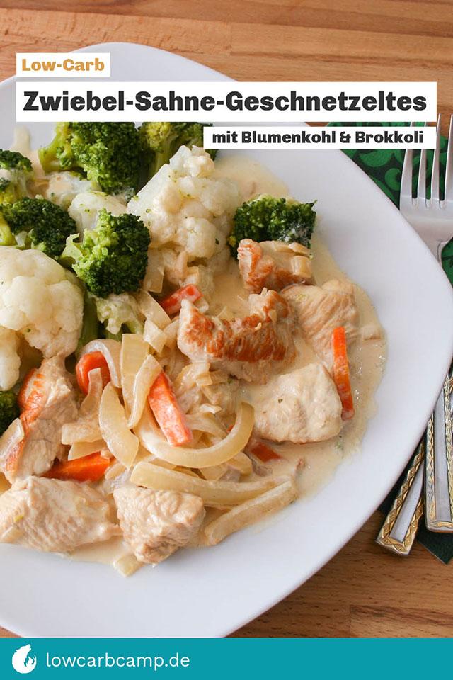 Zwiebel-Sahne-Geschnetzeltes mit Blumenkohl und Brokkoli