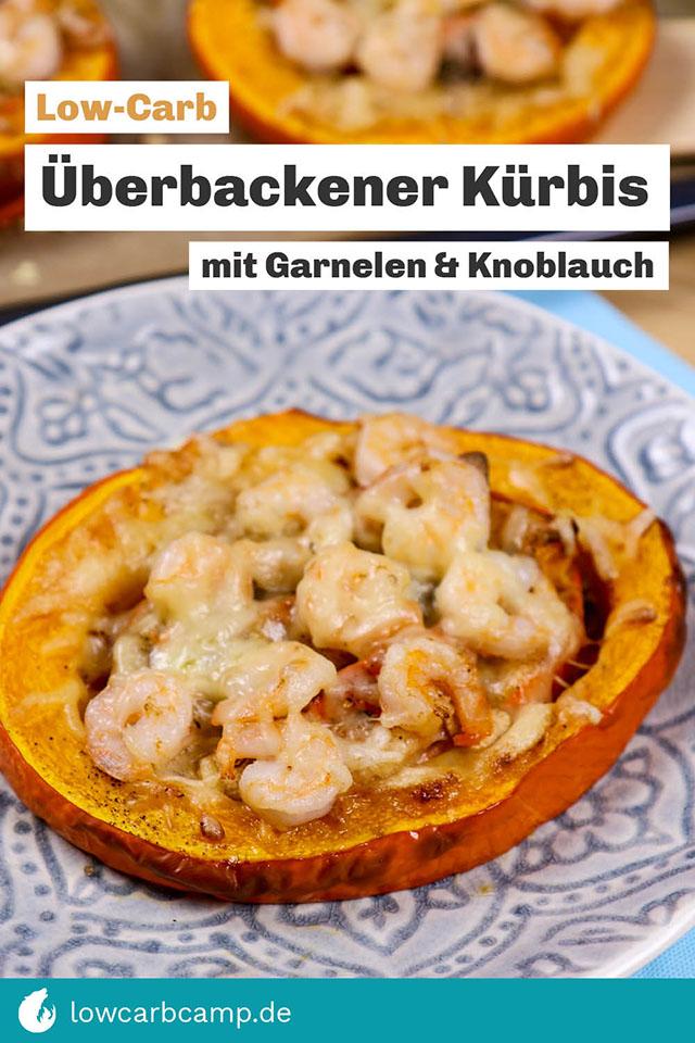 Low-Carb überbackener Kürbis mit Garnelen & Knoblauch