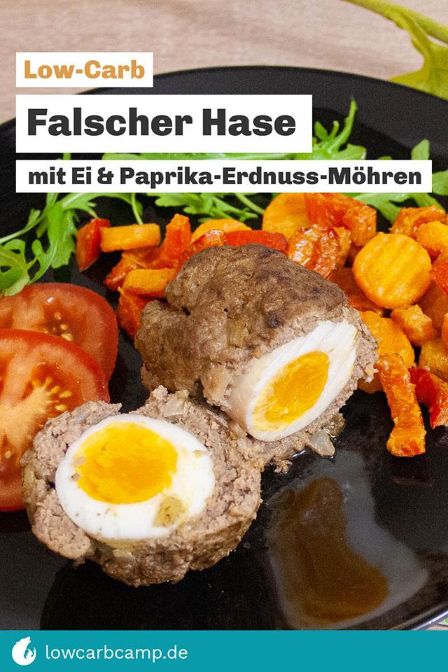 Falscher Hase mit Ei & Paprika-Erdnuss-Möhren