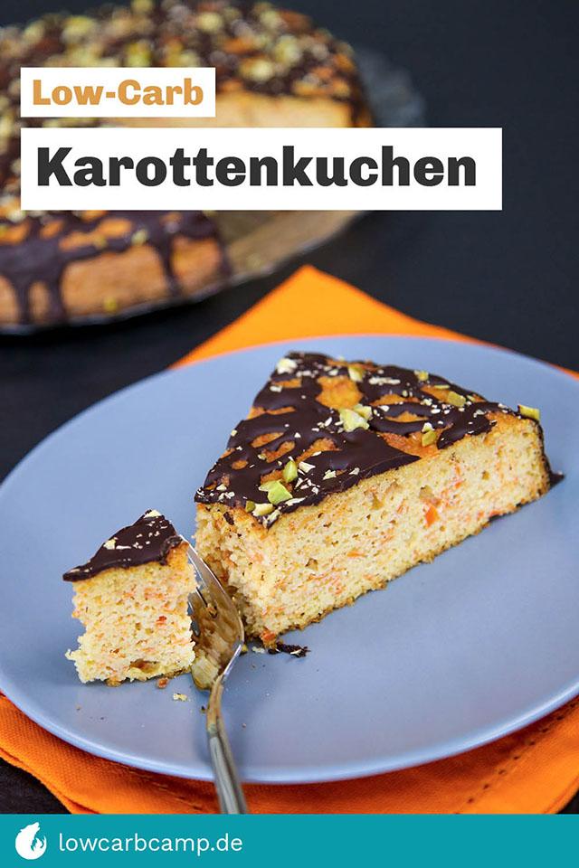 Karottenkuchen Low-Carb mit Schokolade und Pistazien