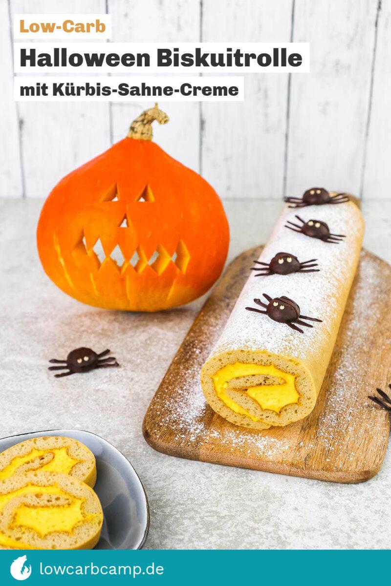 Halloween Biskuitrolle mit Kuerbis-Sahne-Creme